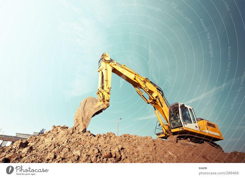 Kein Bier vor vier Himmel blau gelb Umwelt Metall braun Arbeit & Erwerbstätigkeit Erde dreckig Schönes Wetter Urelemente Baustelle Industrie