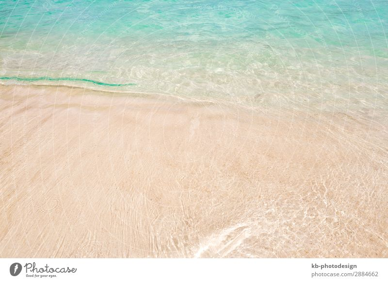 Tropical beach background with soft wave and sand Spa Strand Meer Wellen Natur Sand türkis tropical Wave Waves Sea Atlantic Ocean Caribbean Tourism to travel