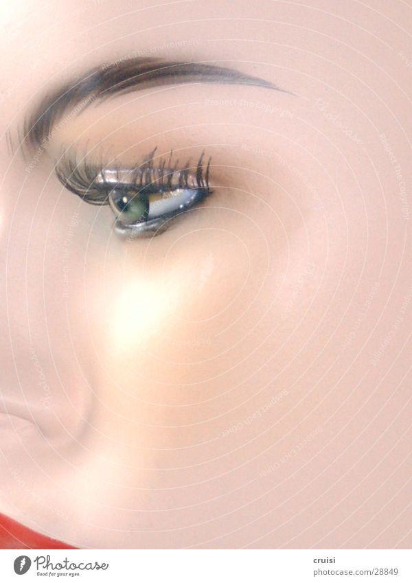 Seidenmatt Frau Gesicht Auge Kosmetik Schminke Puppe Wimpern Lippenstift Schaufensterpuppe