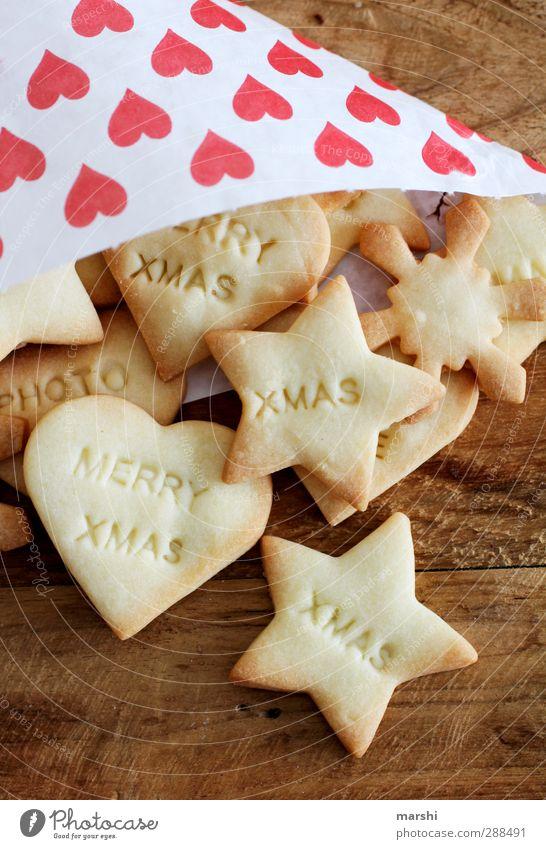 mit Liebe gebacken.... Lebensmittel Dessert Süßwaren Ernährung Essen lecker Weihnachten & Advent Plätzchen Bäcker Schriftzeichen Symbole & Metaphern Holztisch