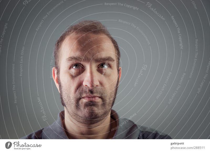 24+12 Stil Mensch maskulin Junger Mann Jugendliche Erwachsene Leben Kopf 30-45 Jahre Denken blau Konzentration Fragen rechnen nachdenklich Blick Zweifel Angst