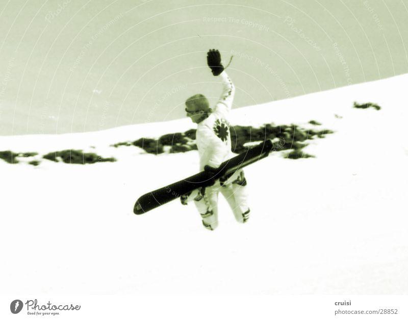 Backside Air Ferien & Urlaub & Reisen Freude Winter Schnee Sport springen Körperhaltung Snowboard Winterurlaub talentiert Skipiste Snowboarding angewinkelt