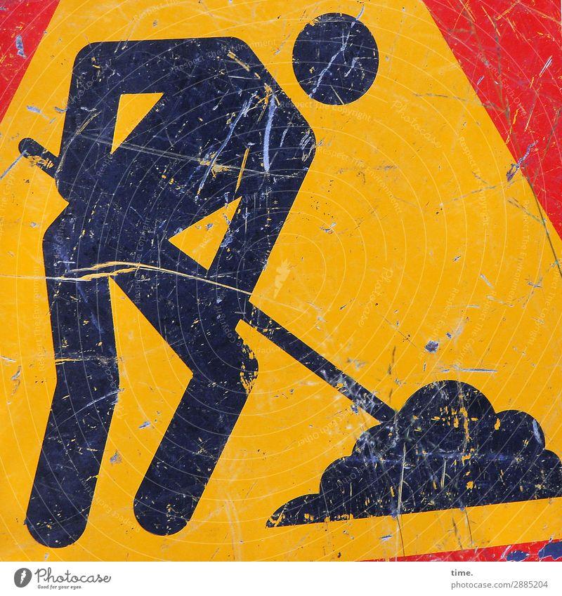 Schaufelmännchen | on the road again Arbeit & Erwerbstätigkeit Beruf Handwerker Arbeitsplatz Baustelle Kunstwerk Verkehr Straßenverkehr Verkehrszeichen