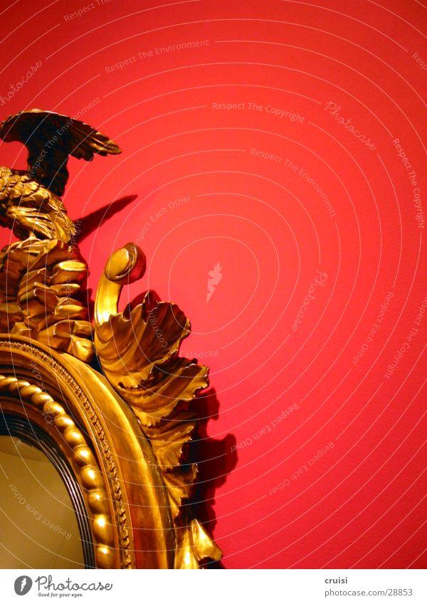 Spiegel rot Wand Holz gold Kitsch Anschnitt