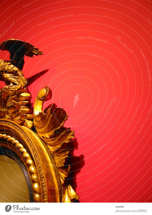 Spiegel rot Wand Reflexion & Spiegelung Holz Kitsch gold Anschnitt
