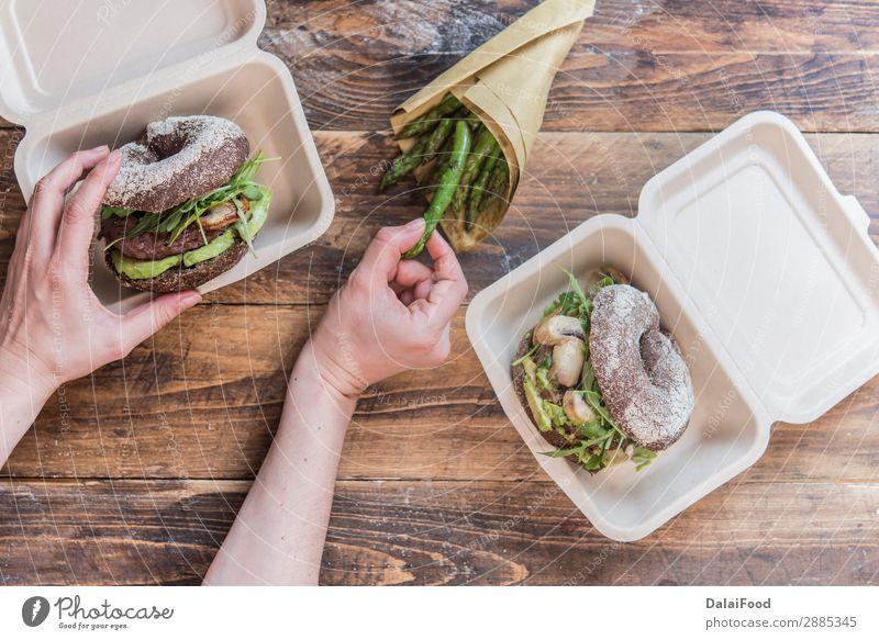 Entfernen Sie keine Abfälle für das Büro. Gemüse Brot Frühstück Mittagessen Diät Getränk Kaffee Stil Tisch Business Papier Holz Kunststoff Fitness gehen modern