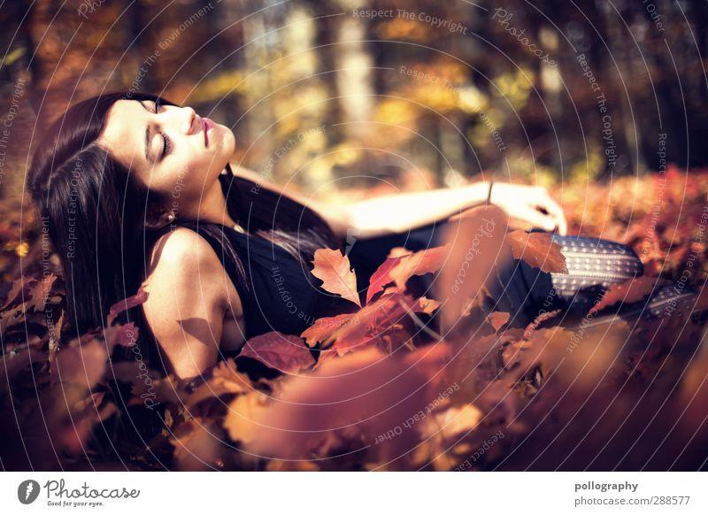 Es herbstet sehr (7) Mensch Frau Natur Jugendliche schön Pflanze Blatt ruhig Landschaft Erholung Wald Erwachsene Junge Frau Herbst Leben feminin