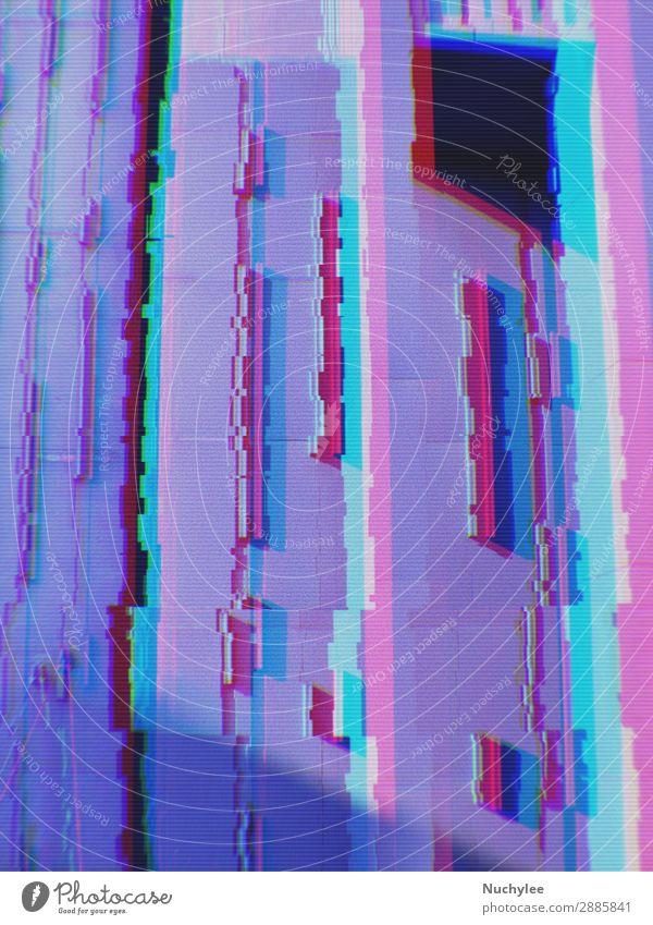 Abstrakte Darstellung moderner Gebäude im Stadthintergrund mit digitalem Glitch-Effekt Störung Raster abstrakt Hintergrund Business Großstadt Konzept Cyberspace