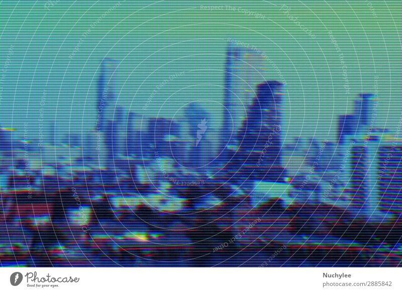 Moderne Gebäude und Stadtlandschaftshintergrund mit digitalem Glitch-Effekt Störung Raster abstrakt Hintergrund Business Großstadt Konzept Cyberspace Daten