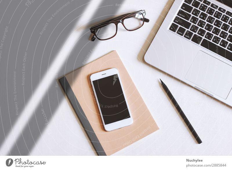 weiß schwarz Lifestyle Business Textfreiraum Arbeit & Erwerbstätigkeit Büro Design modern Aussicht offen Technik & Technologie Tisch Computer Papier Brille