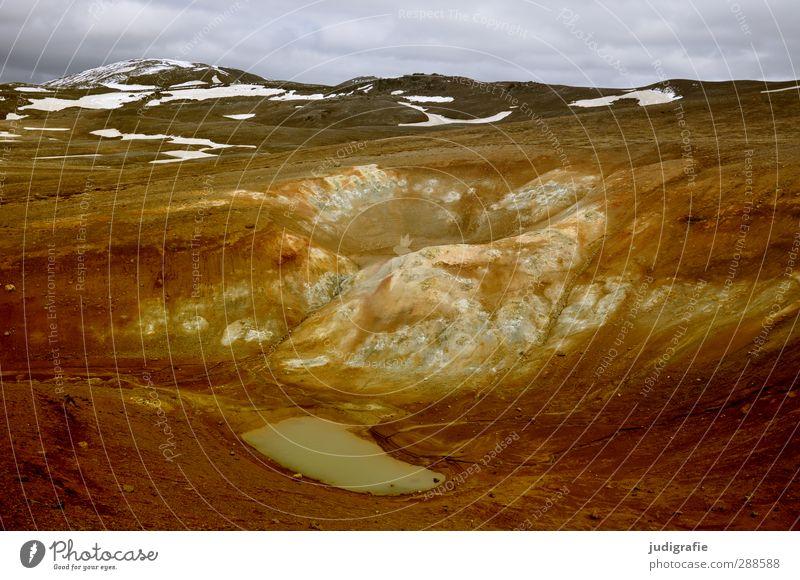 Island Himmel Natur Einsamkeit Wolken ruhig Landschaft Umwelt Berge u. Gebirge Schnee Stimmung braun natürlich Erde wild Urelemente einzigartig