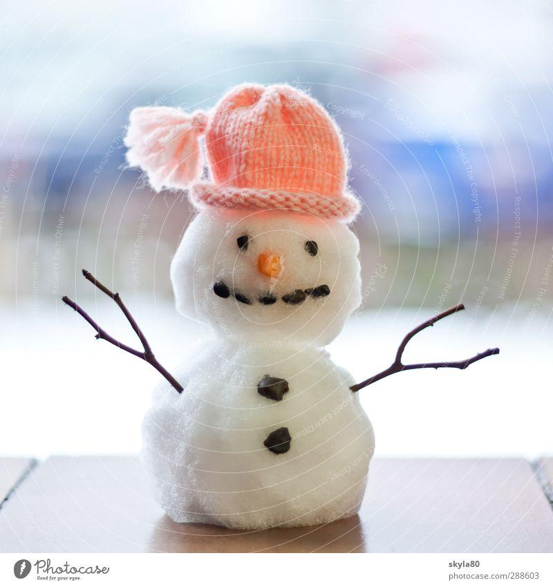 Frostbeulchen Winter kalt Schnee lachen Fröhlichkeit Mütze Knöpfe Miniatur Schneemann Wollmütze