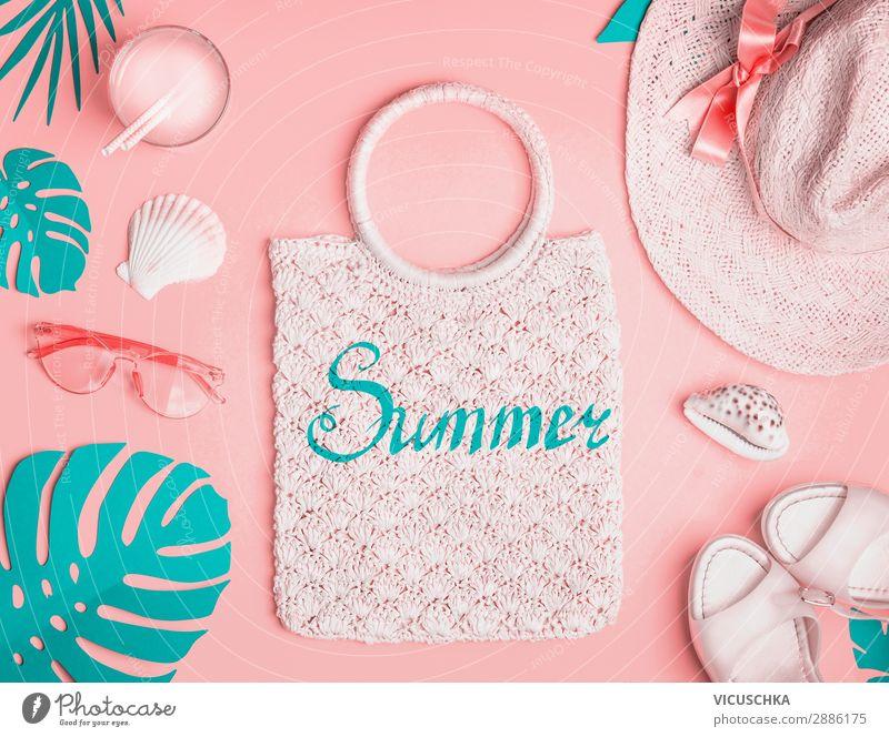 Sommer Outfit Ferien & Urlaub & Reisen Freude Strand feminin Mode rosa Design Schuhe Bekleidung Trinkwasser Getränk Sommerurlaub Hut Sonnenbad Sonnenbrille