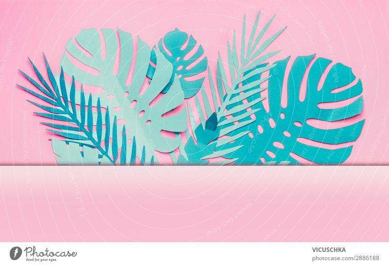 Verschiedene tropische Blätter Rahmen Natur Sommer Blatt Hintergrundbild Stil rosa Design Dekoration & Verzierung modern kaufen trendy türkis Entwurf