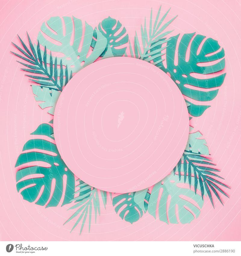 Runder Rahmen min tropischen Blättern Natur Sommer Pflanze blau Blatt Hintergrundbild Stil rosa Design Dekoration & Verzierung kaufen Papier trendy türkis