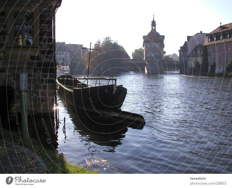 Morgenromantik Wasser Wasserfahrzeug Architektur Brücke Fluss Romantik Turm