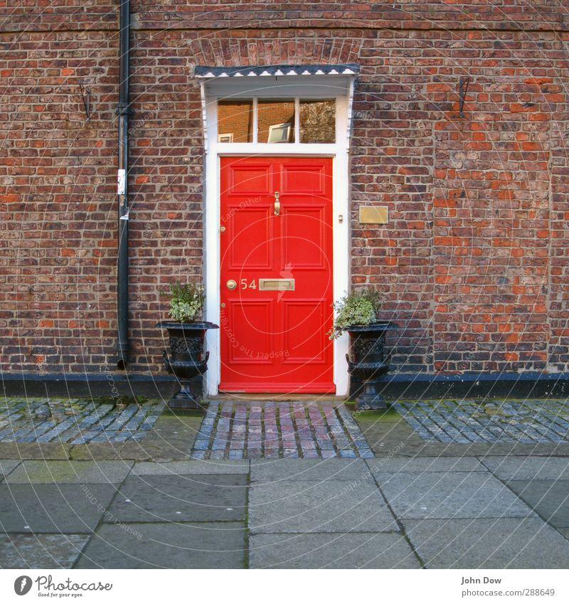 Almost Downing Street! rot Haus Wand Mauer Tür Fassade Häusliches Leben Eingang England Briefkasten Englisch Dachrinne knallig Kübel Eingangstür Namensschild