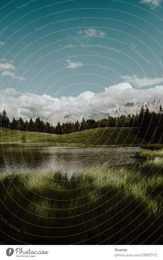 Seeblick mit Bergen und Wolken im Hintergrund Umwelt Natur Landschaft Wasser Sommer Schönes Wetter Alpen Berge u. Gebirge Gipfel Seeufer Mittenwald Deutschland