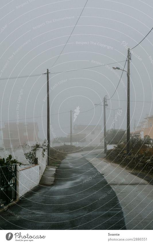Neblige Straße in Ericeira, Portugal Umwelt Nebel Regen nass Stimmung Nebellandschaft Asphalt geheimnisvoll Stadt schlechtes Wetter Farbfoto Menschenleer Morgen