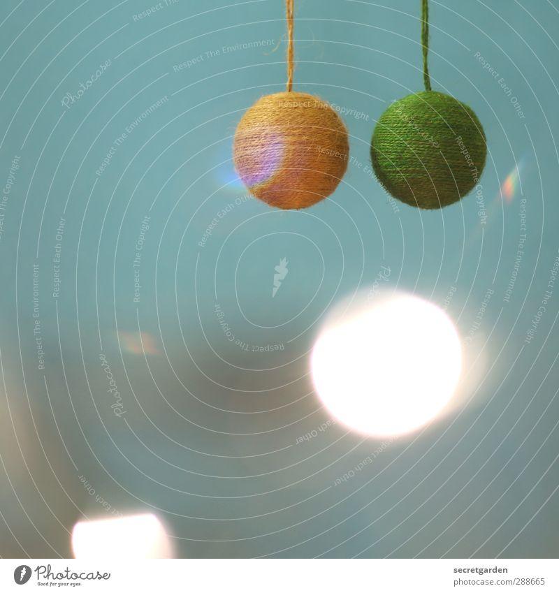 meine zwei kugeln. Weihnachten & Advent blau grün Feste & Feiern leuchten Dekoration & Verzierung rund Stoff hängen Christbaumkugel Weihnachtsdekoration Lichtspiel