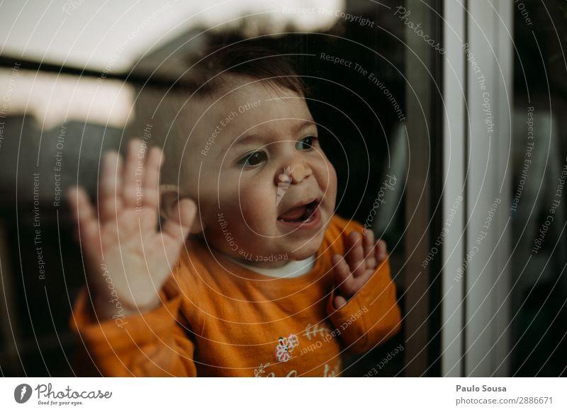 Baby durchs Fenster Lifestyle Wohnzimmer Mensch Kind Kleinkind Mädchen 1 1-3 Jahre T-Shirt beobachten berühren Lächeln Spielen authentisch Coolness Zusammensein