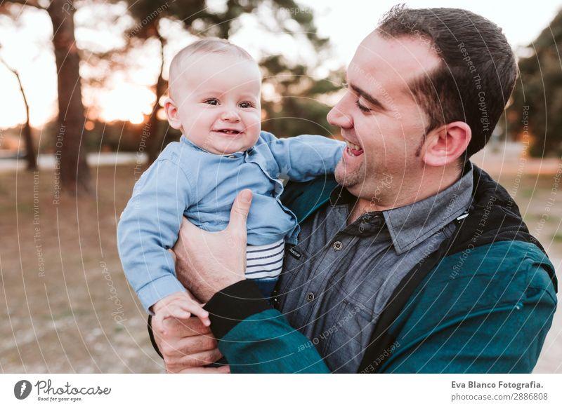 Kind Mann schön Freude Lifestyle Erwachsene Leben Liebe Familie & Verwandtschaft Junge Freiheit Zusammensein Park träumen Lächeln Kindheit