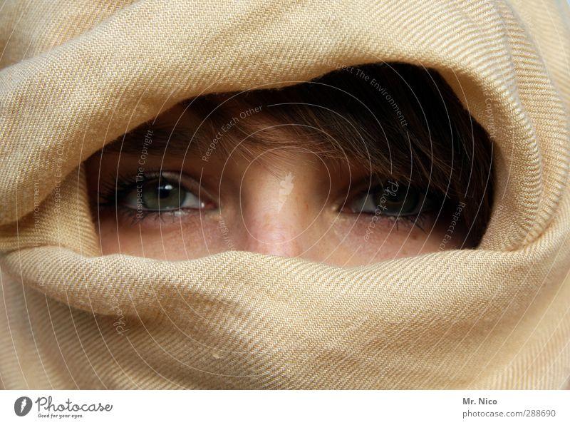 augenbling schön Ferien & Urlaub & Reisen feminin Frau Erwachsene Haut Gesicht Auge 1 Mensch 18-30 Jahre Jugendliche Stoff brünett beobachten Blick Glück