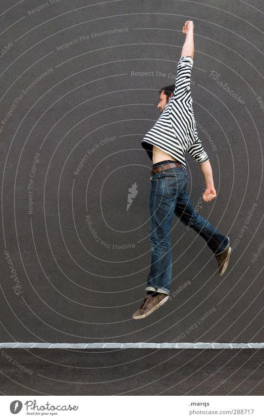 Sprunghaft Lifestyle Sport Mensch maskulin Junger Mann Jugendliche Erwachsene Mauer Wand Zeichen springen Coolness Erfolg Gefühle Freude Glück Lebensfreude