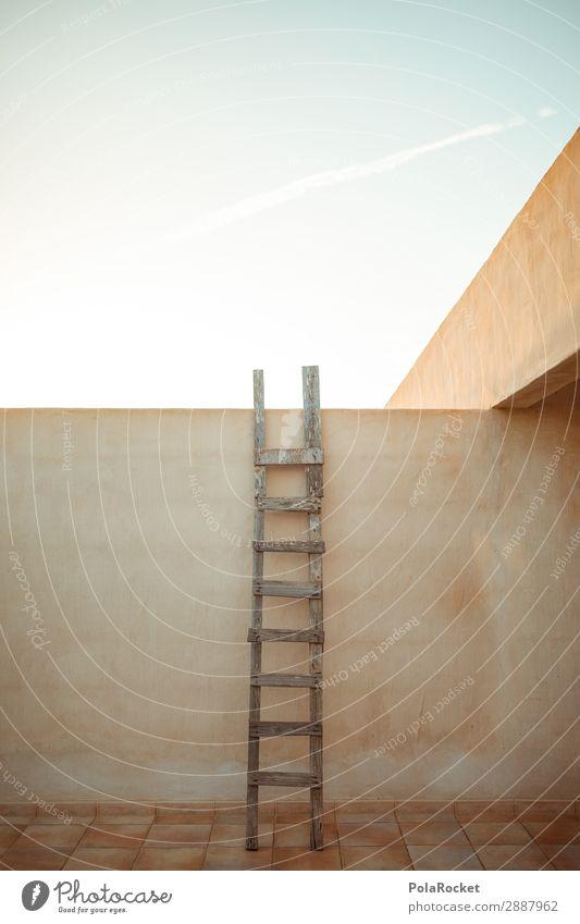 #A# himmel-hoch Kunst ästhetisch Leiter aufsteigen Karriere Stillleben Mauer erobern Barriere Wege & Pfade Problemlösung Farbfoto Gedeckte Farben Außenaufnahme