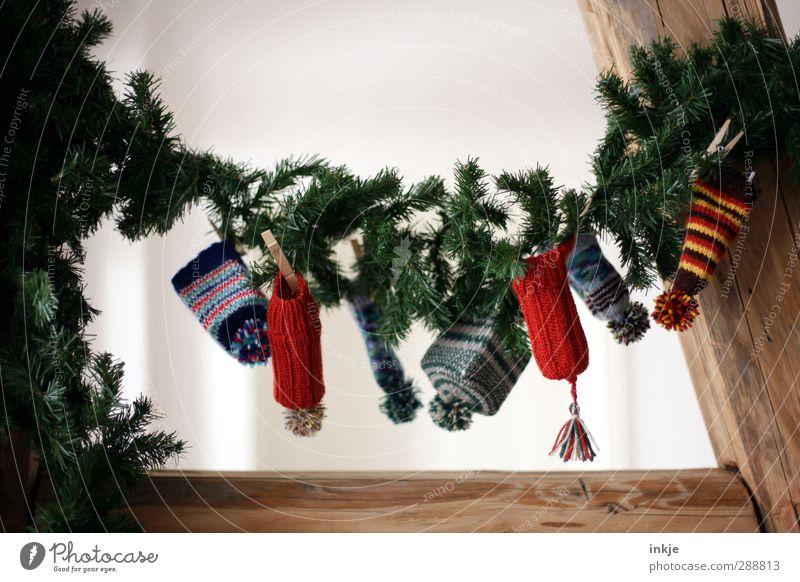 Wichtelpopichtel daheim Lifestyle Freude Häusliches Leben Dekoration & Verzierung Weihnachten & Advent Tannenzweig Mütze Wollmütze bommelmütze Girlande