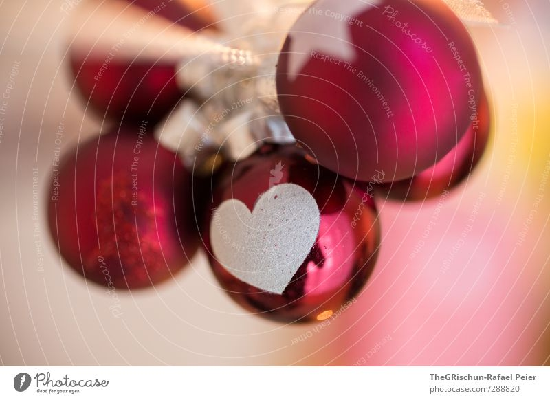 From christmas with love... Kitsch Krimskrams mehrfarbig gelb gold orange rosa rot weiß Kugel Weihnachten & Advent Herz Stern (Symbol) Schmuck