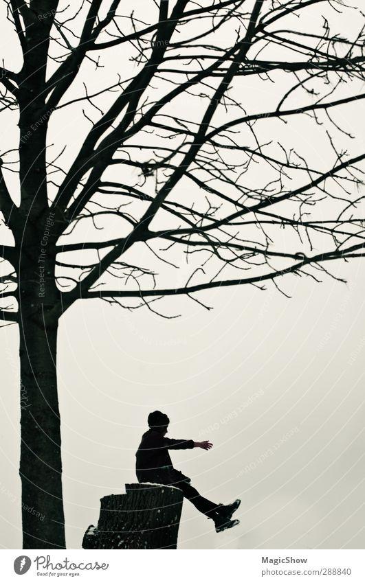 Ich bin ein Baum. Traumbaum. Kindheit Jugendliche 1 Mensch genießen Natur Silhouette Mädchen Arme Baumstamm Ast Himmel harmonisch Traurigkeit Naturliebe Gruß