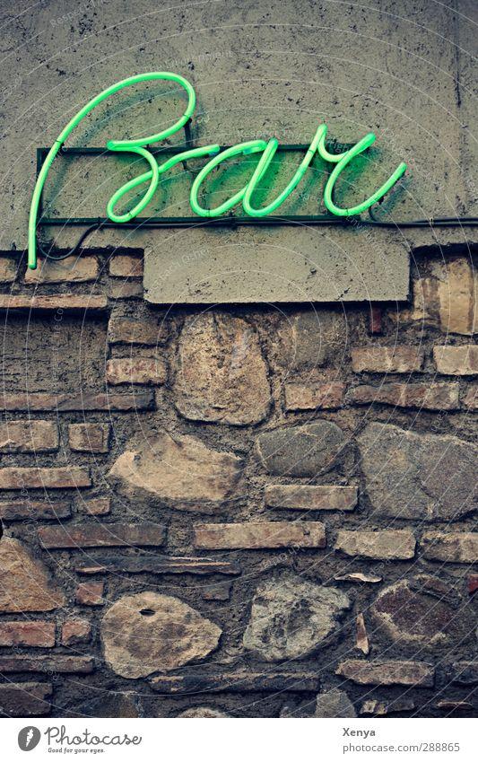 Bar grün Mauer grau Stein Fassade Schilder & Markierungen Bar Feierabend Leuchtreklame