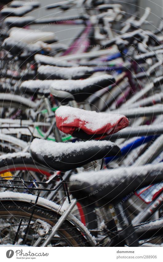 Fahrrad auf Eis Fahrradfahren Winter Klima Frost Schnee Stadtzentrum Parkhaus fallen frieren stehen warten ästhetisch einfach sportlich stark rot schwarz weiß