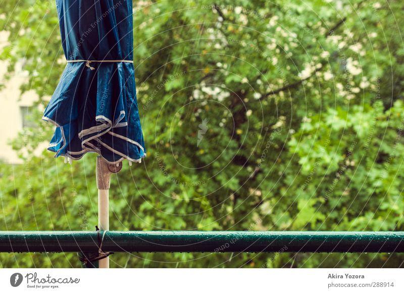 Sommer 2012 blau grün Baum Regen Balkon Sonnenschirm schlechtes Wetter