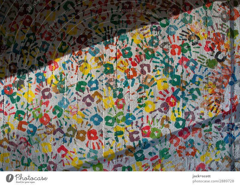 drunter & drüber Farbe Hand Freude Wand Stil Mauer außergewöhnlich Zusammensein Freundschaft Stimmung Dekoration & Verzierung Fröhlichkeit Kreativität