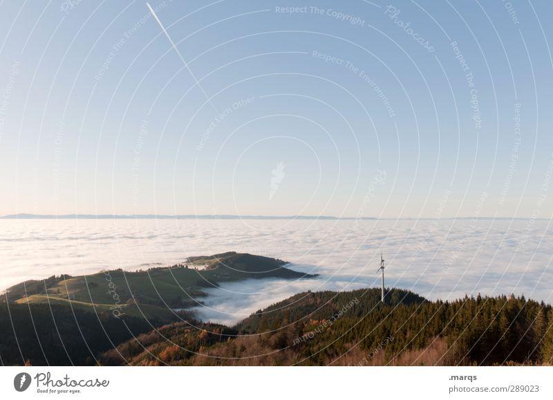 Inversion Ausflug Windkraftanlage Umwelt Natur Landschaft Wolkenloser Himmel Klima Klimawandel Wetter Schönes Wetter Wald Hügel Berge u. Gebirge Stimmung