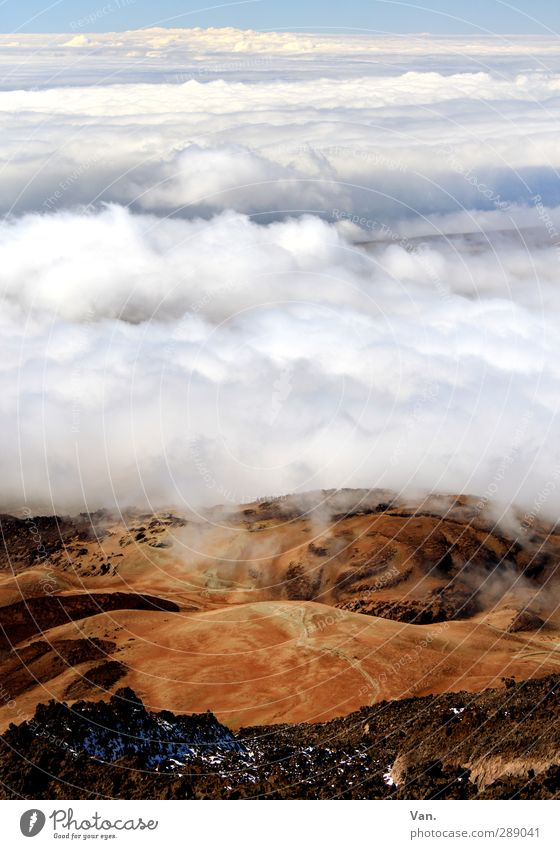 Montana roja Ferien & Urlaub & Reisen wandern Natur Landschaft Erde Himmel Wolken Hügel Felsen Berge u. Gebirge Teneriffa hoch rot weiß Farbfoto mehrfarbig