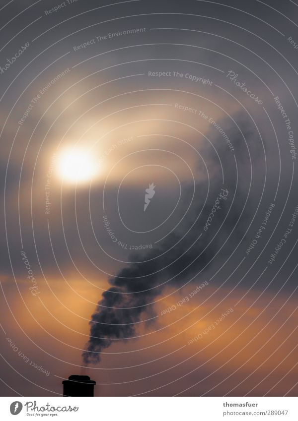 Rauchverbot Umwelt Natur Himmel Wolken Winter Klima Wetter Nebel Schornstein grau orange Farbe kalt Stimmung Tod Trauer Traurigkeit Umweltverschmutzung
