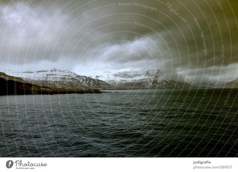 Island Himmel Natur Wasser Wolken Landschaft Umwelt dunkel Berge u. Gebirge kalt Schnee Küste Felsen Stimmung natürlich Wellen Klima