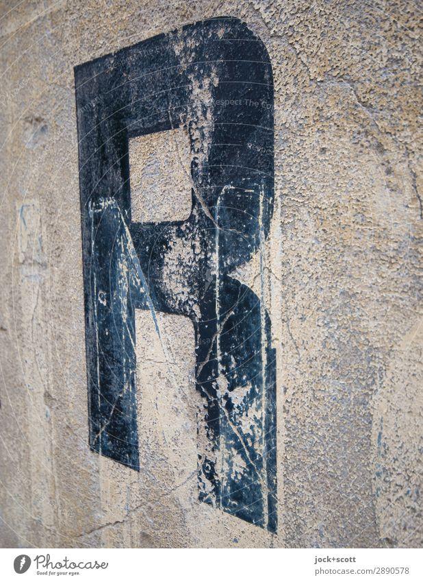 R verwittert 18 5 Stil Design Schriftzeichen Schilder & Markierungen alt außergewöhnlich authentisch eckig fest historisch retro grau schwarz Inspiration