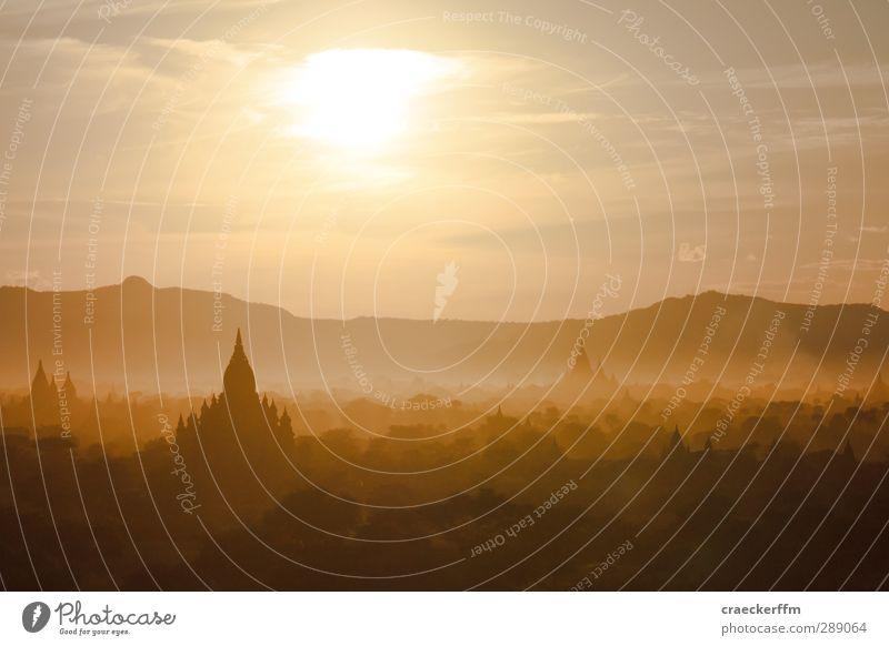 Bagan Ferien & Urlaub & Reisen Tourismus Ferne Sonne Natur Landschaft Sonnenaufgang Sonnenuntergang Sonnenlicht Wald Hügel ästhetisch außergewöhnlich exotisch