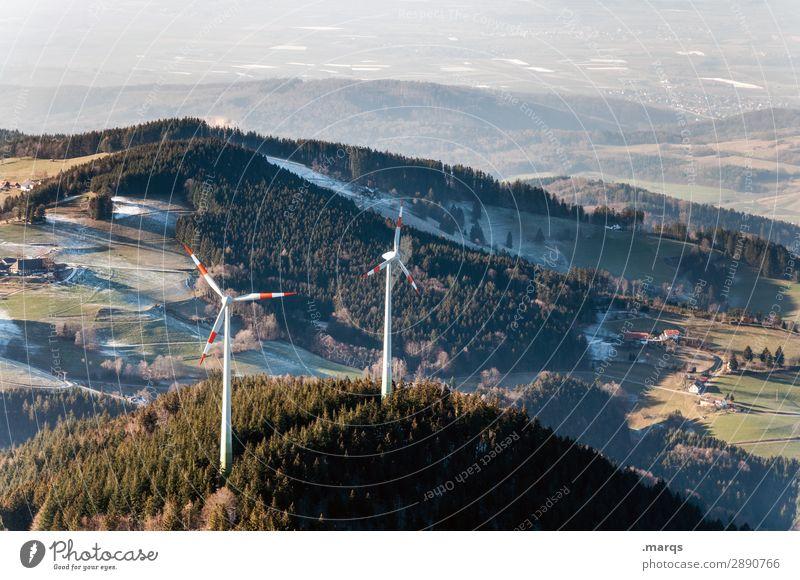 Winterwindkraft Tourismus Technik & Technologie Erneuerbare Energie Windkraftanlage Umwelt Natur Landschaft Herbst Wiese Wald Hügel Schauinsland Schwarzwald