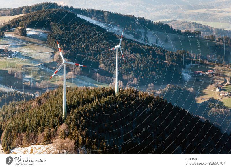 Windräder Energiewirtschaft Erneuerbare Energie Windkraftanlage Umwelt Natur Landschaft Herbst Winter Klimawandel Schönes Wetter Wiese Wald Hügel