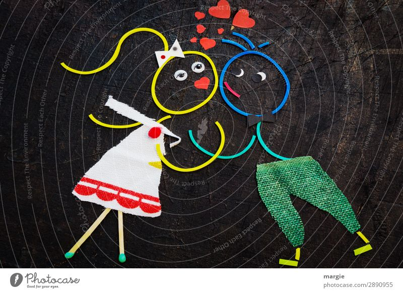 Gedankenspiele | Sie liebt mich! Mensch maskulin feminin Junge Frau Jugendliche Junger Mann Erwachsene 2 mehrfarbig rot schwarz Gefühle Leidenschaft Sex