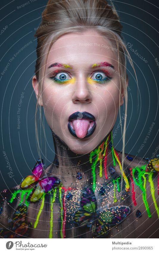 Frau Natur weiß Gesicht Erwachsene Mode elegant Haut Kreativität niedlich Beautyfotografie Model Lippen Schmetterling Kosmetik Schminke