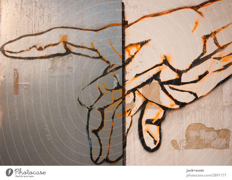 Fingerzeig Graffiti Berlin Stil außergewöhnlich braun Stimmung Design Linie Metall ästhetisch Kreativität berühren Neugier entdecken Gelassenheit Kontakt