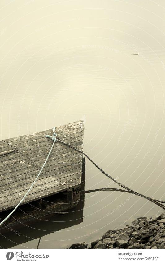 der steinige weg zum steg. Erholung ruhig Meditation Küste Seeufer Flussufer dreckig braun grün Seil Wasser Anlegestelle Spitze Holz Schwimmen & Baden