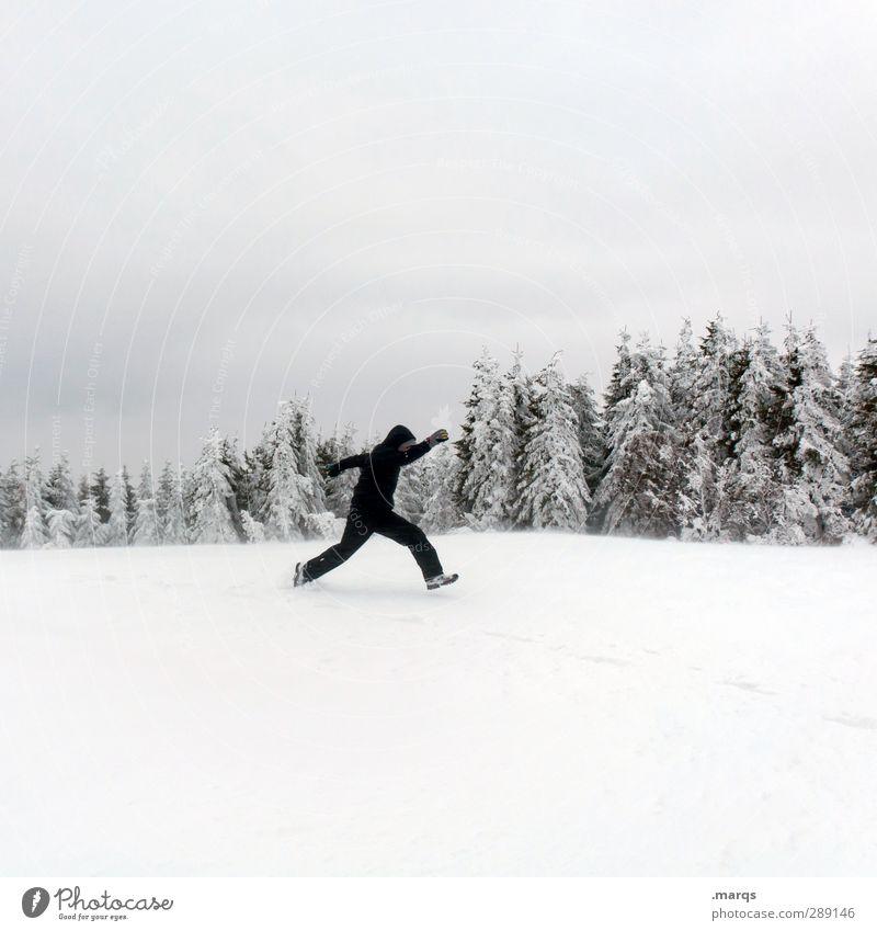 Wintersport Mensch Himmel Natur Ferien & Urlaub & Reisen Baum Landschaft Freude Winter Erwachsene kalt Schnee springen maskulin Lifestyle Geschwindigkeit Zeichen