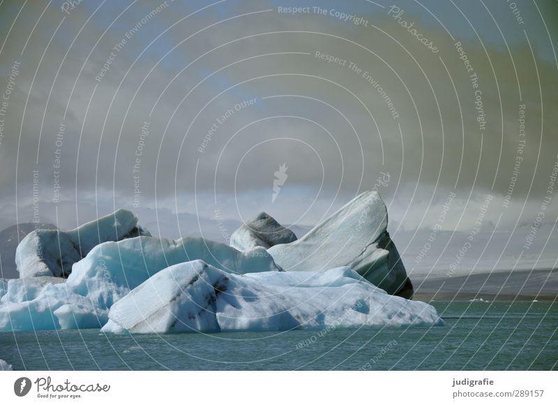 Island Umwelt Natur Landschaft Wasser Klima Eis Frost Gletscher See Jökulsárlón kalt natürlich blau Stimmung Farbfoto Gedeckte Farben Außenaufnahme Menschenleer